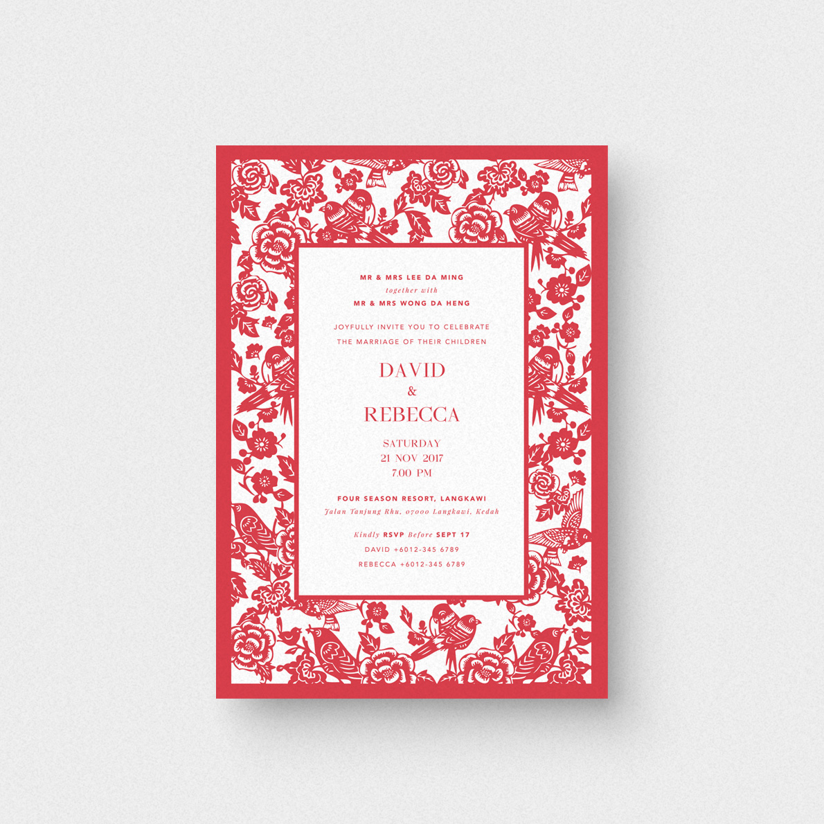 A magpies kiss invitation card the paperpapers wedding a magpies kiss wedding invitation card stopboris Images