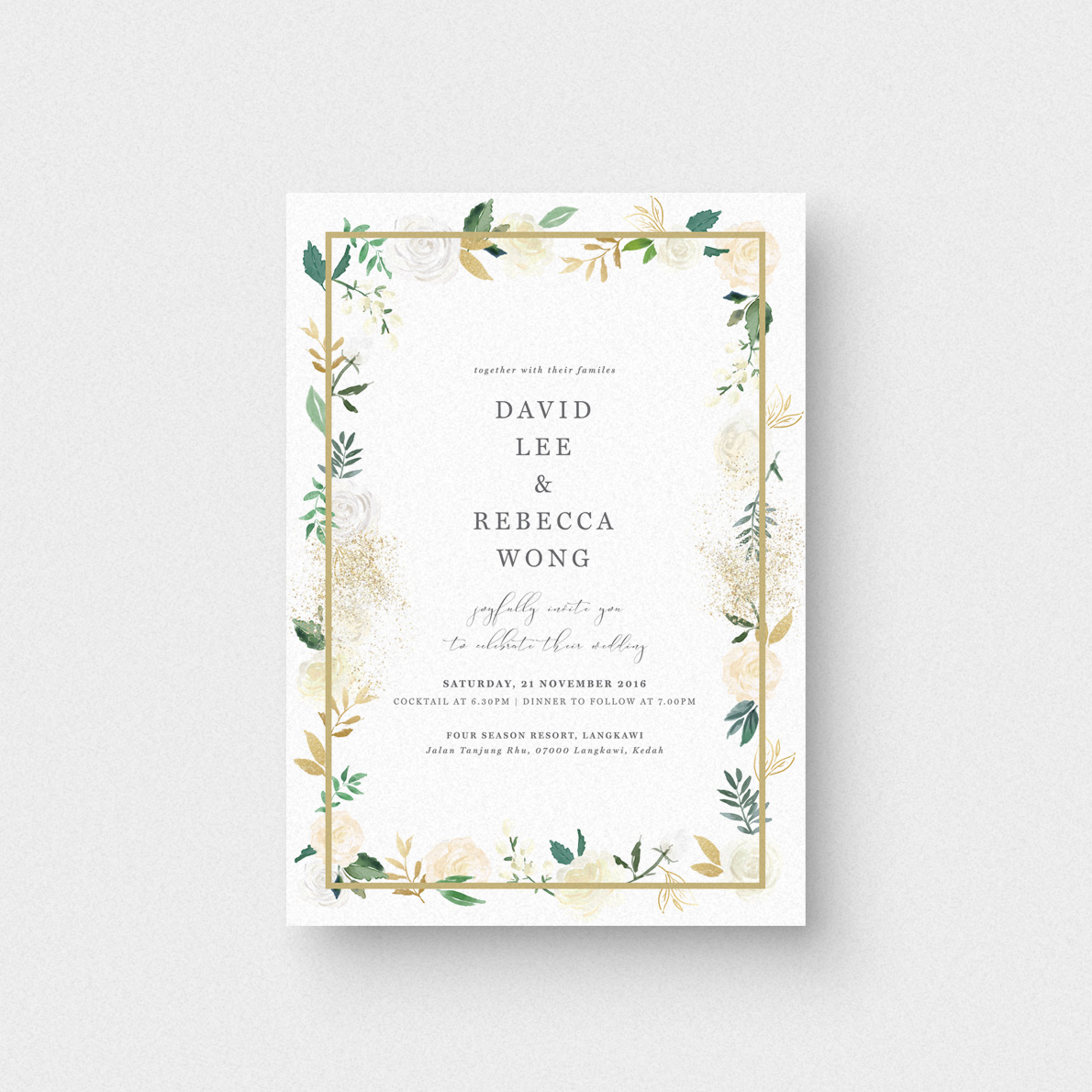 Audrea Floral II Invitation Card - The Paperpapers - Wedding ...