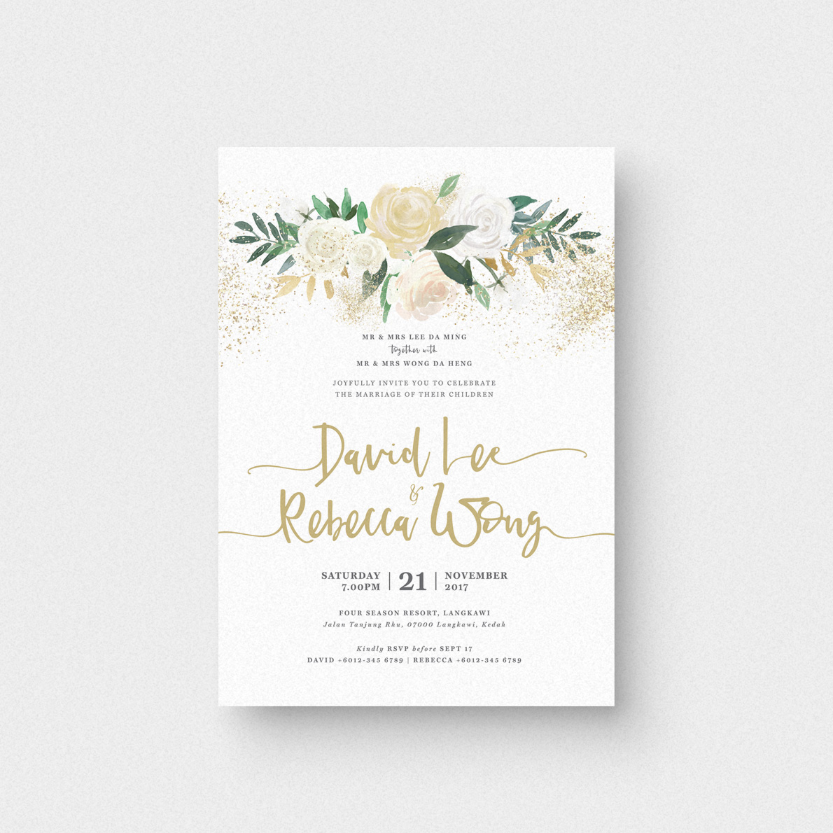 Wedding Invitation Postcard: Audrea Floral I Invitation Card