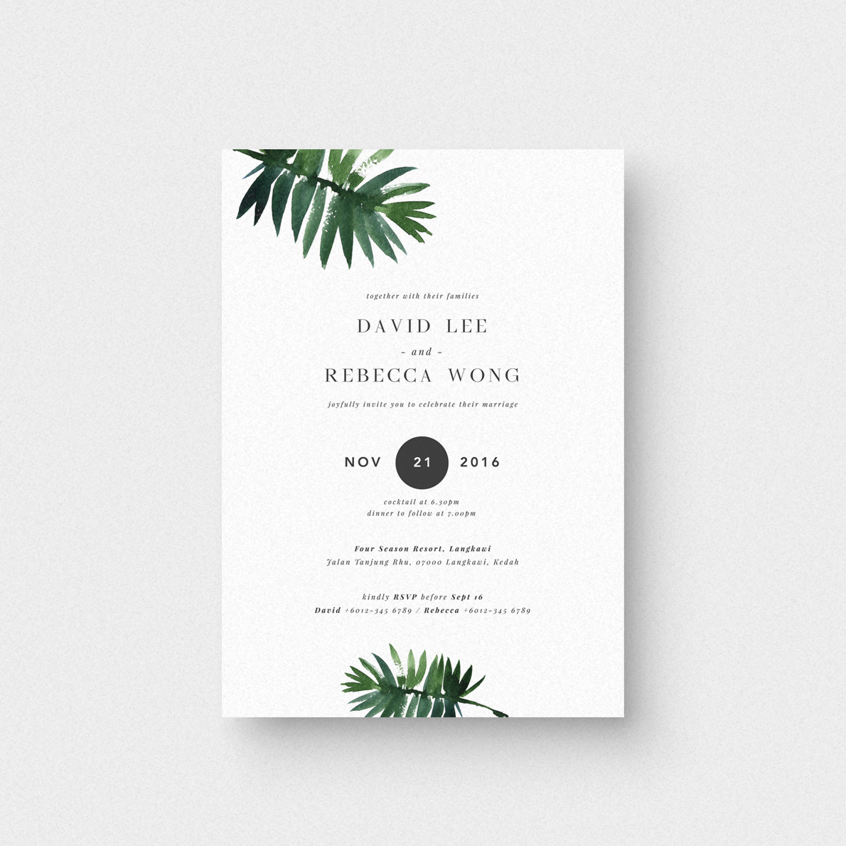 Blissful Leaves Invitation Card - The Paperpapers - Wedding ...