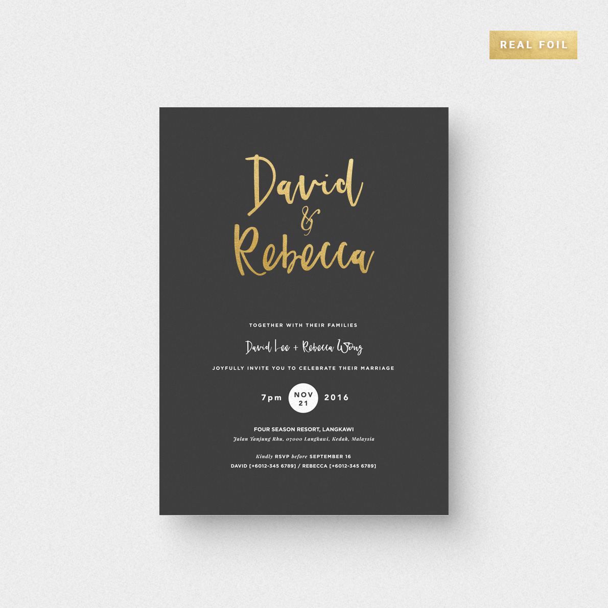 Dipped Love Invitation Card (Foil Stamping) - The Paperpapers ...