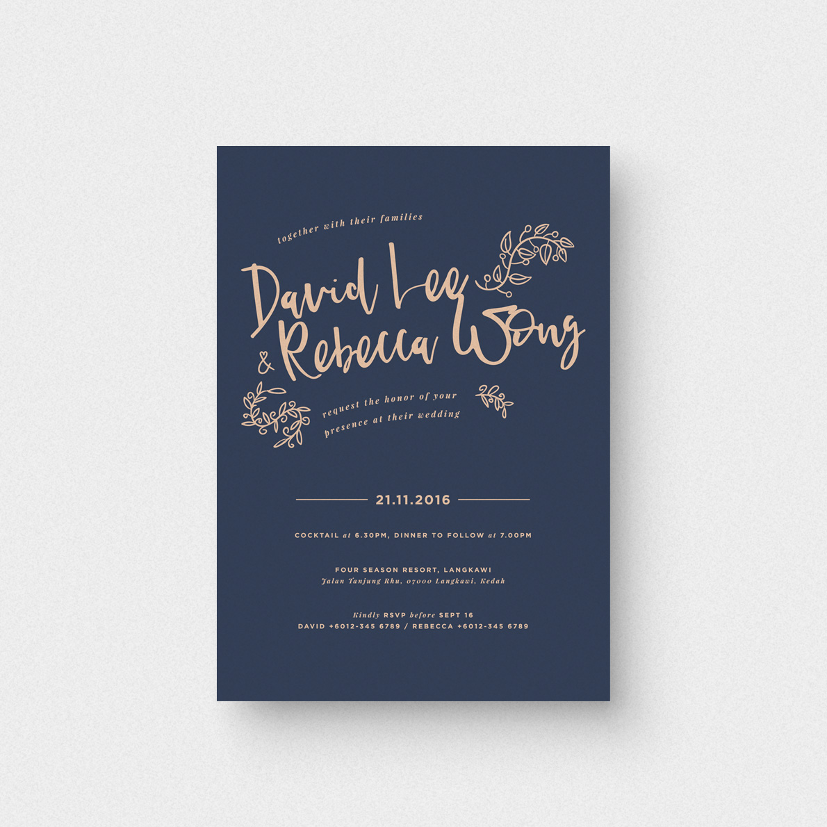 Midnight Blue Invitation Card - The Paperpapers - Wedding Invitation ...