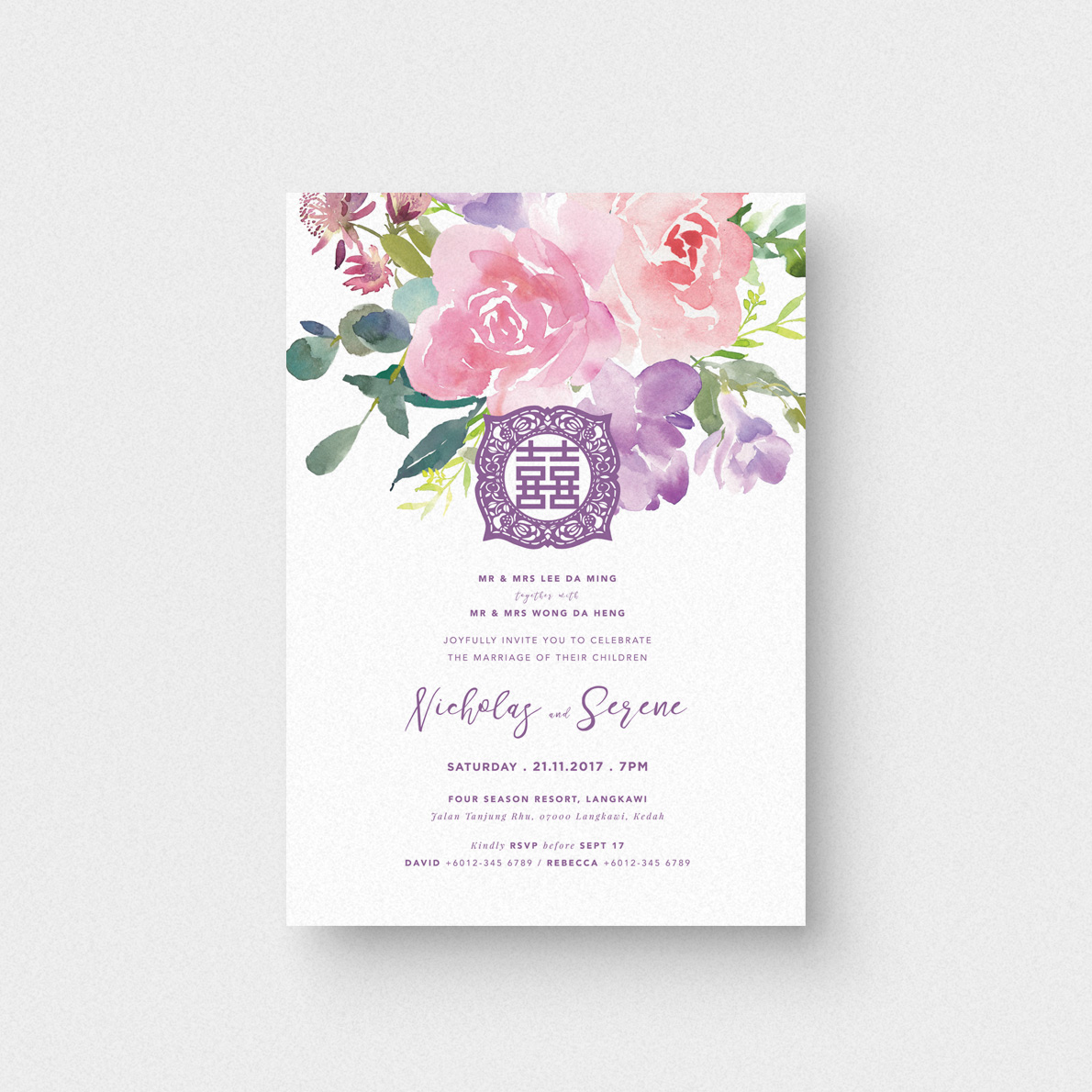 Oriental Purple Invitation Card - The Paperpapers - Wedding ...