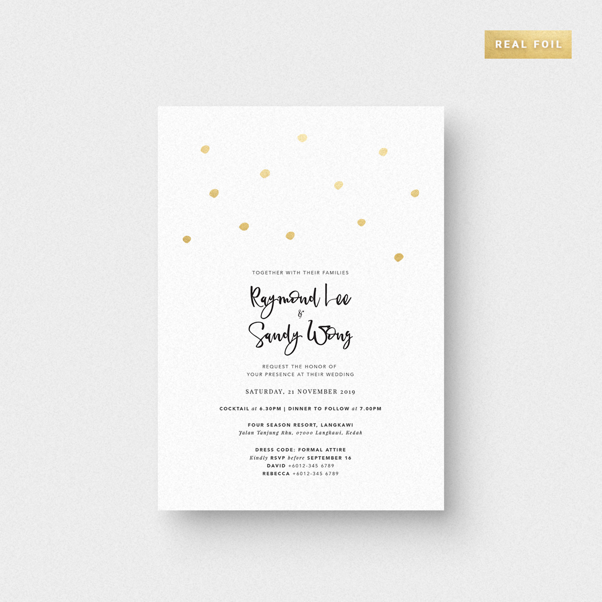 Shimmering Dots Invitation Card Foil Stamping The Paperpapers Wedding Invitation Malaysia