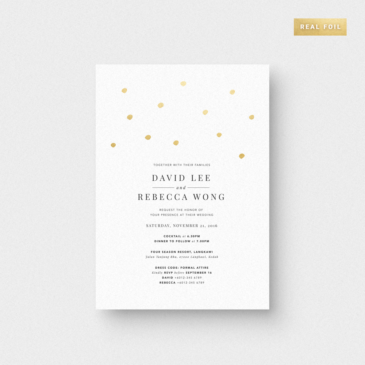 Shimmering Dots Invitation Card Foil Stamping The Paperpapers