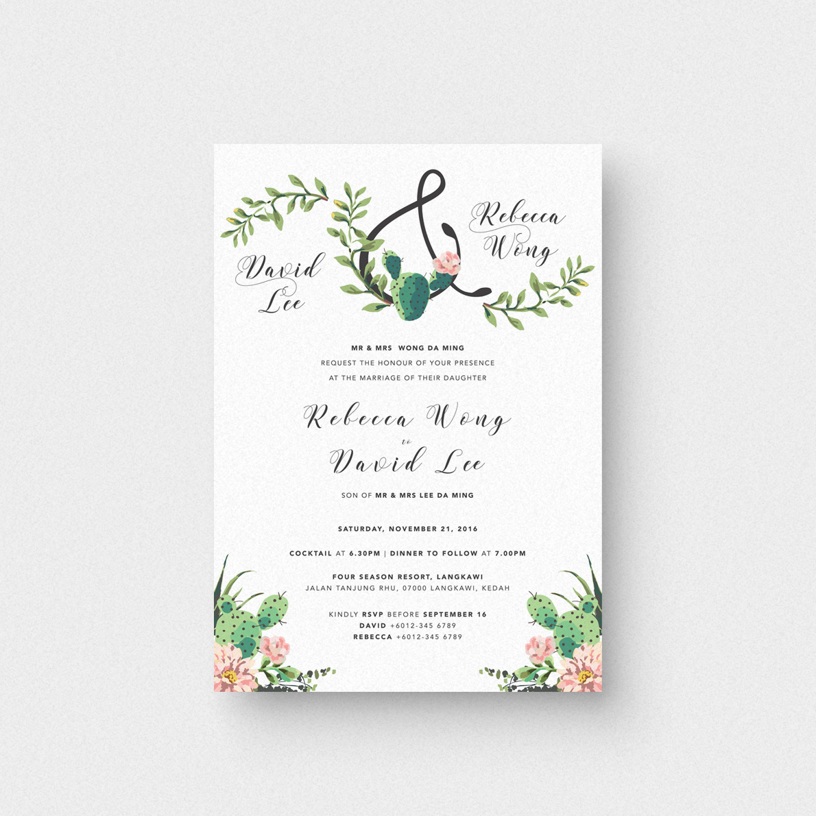 Succulent Love II Invitation Card - The Paperpapers - Wedding ...