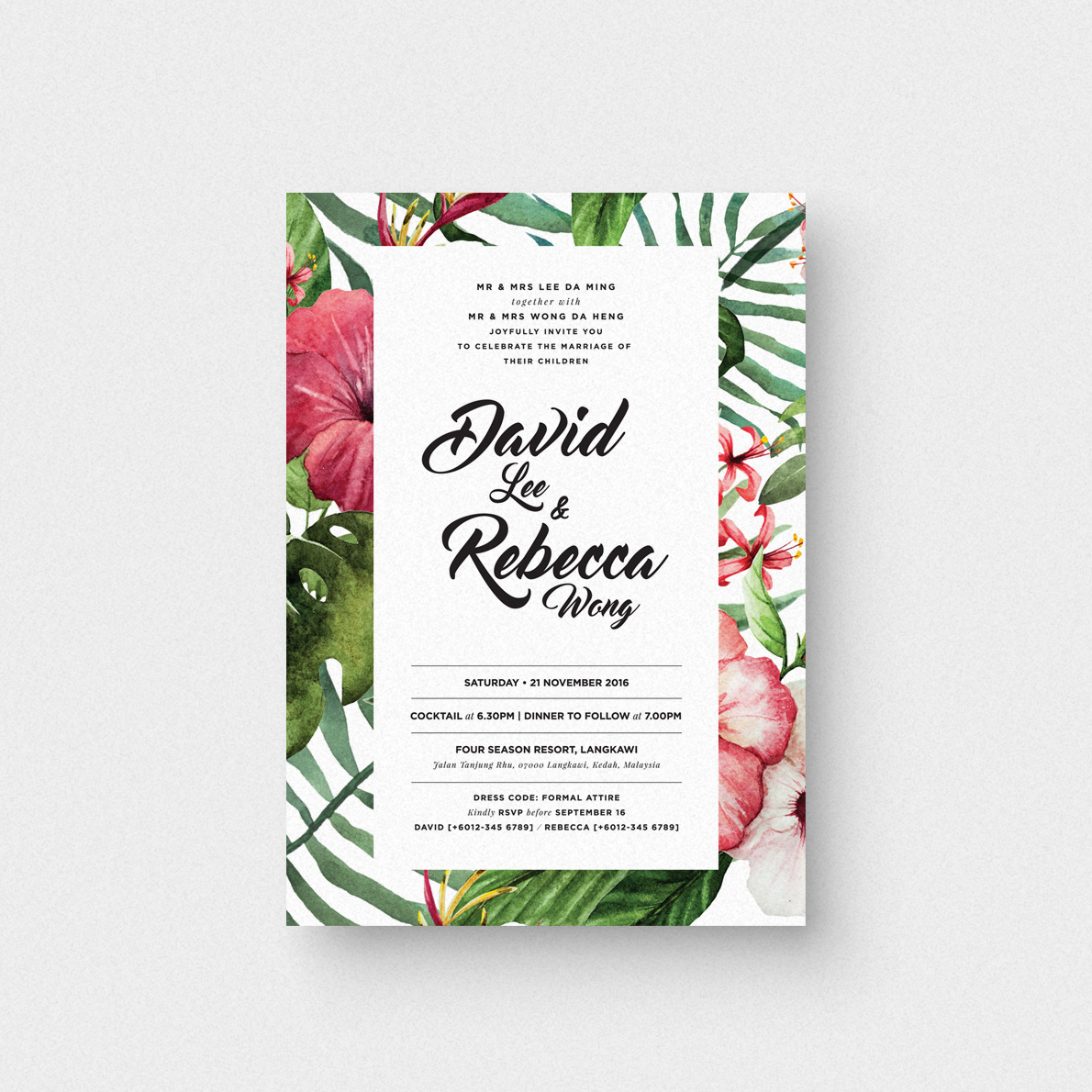 Tropical Love I Invitation Card The Paperpapers