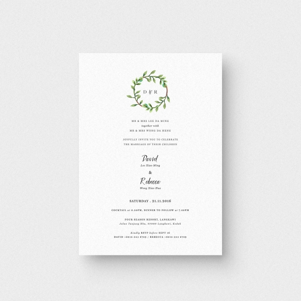 Wreated in Love Wedding Invitation Card