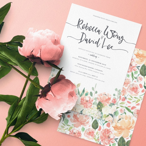 Floral Letter II Wedding Invitation Card