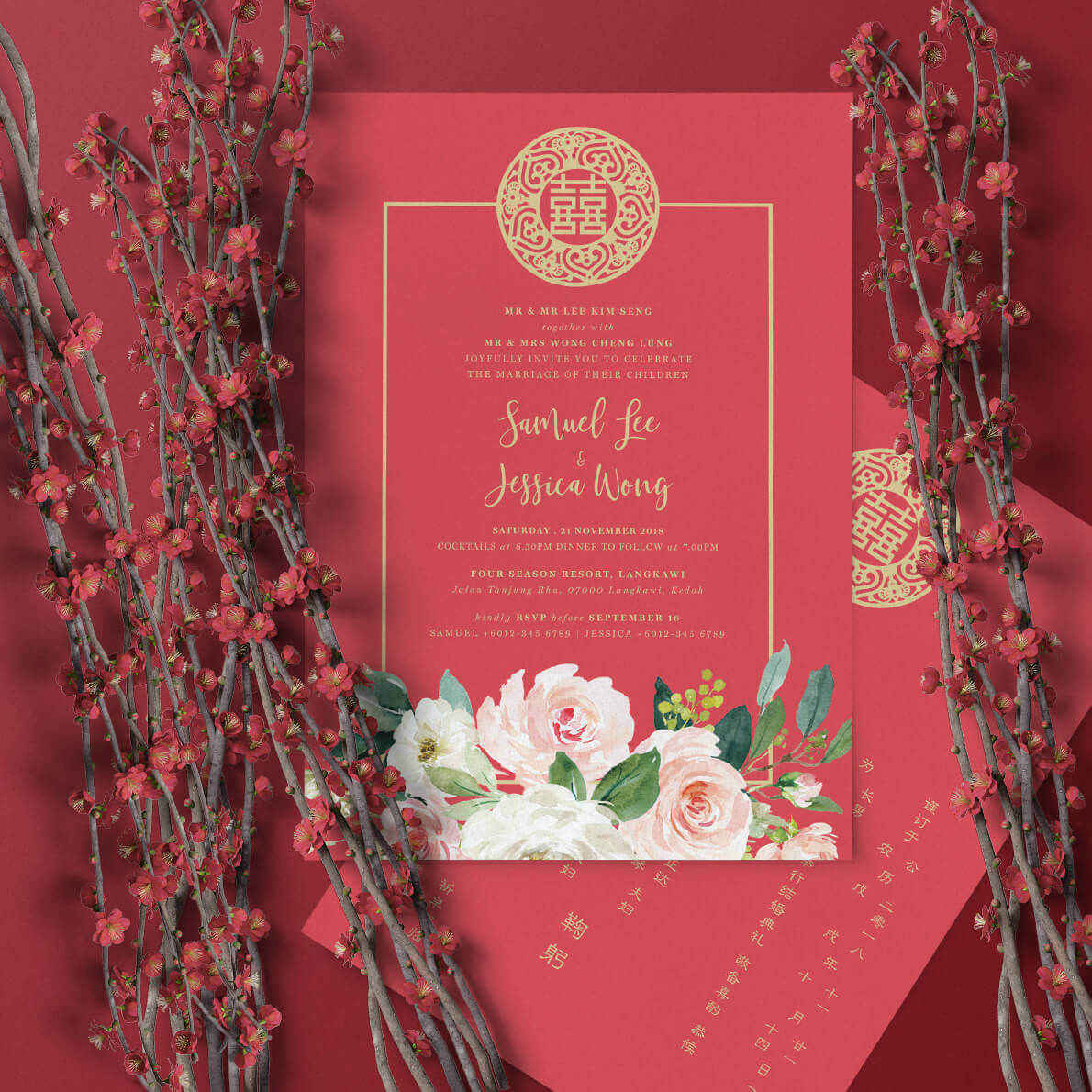 oriental rosy invitation card  the paperpapers  wedding